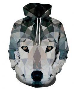 Geometric Wolf 3D Sweatshirt Hoodie Pullover t-shirt