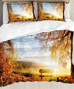 Autumn Landscape The Sun Warmly on a Bench Under Tree Scene Holiday Bedding Set