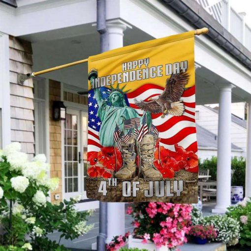 4th Of July Veteran Happy Independence Day Garden Flag