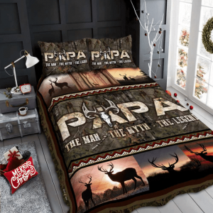 Fathers Day Gifts Papa Deer Hunting The Man The Myth The Legend Bedding Set