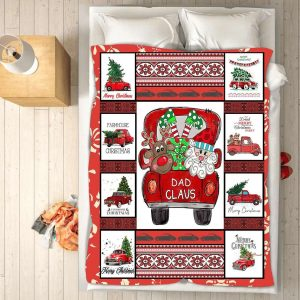 Gift For Dad Claus Christmas Blanket