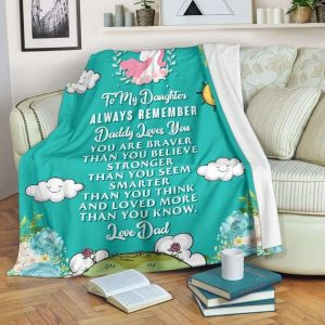 Gift For Dad Cute Unicorn Daughter Remember Daddy Loves You Blanket