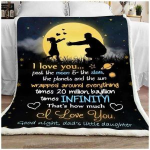 Gift For Dad Dad And Daughter Good Night Dad I Love You Dad Blanket