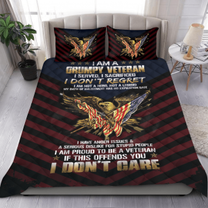 Grumpy Veteran I Am Not a Hero dONT Care Bedding Set