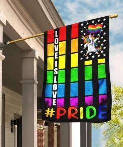 Love Is Love Unicorn LGBT Pride Flag Garden Flag House Flag