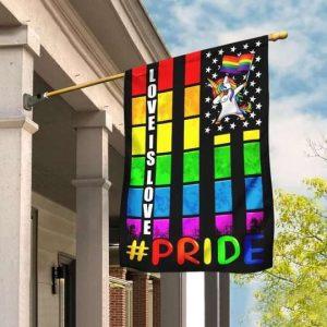 Love Is Love Unicorn LGBT Pride Flag Garden Flag Double Sided House Flag