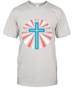 Patriotic American Flag – Jesus Cross 4th Of July Christian Premium T Shirt