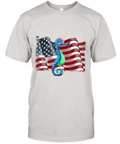 Seahorse American Flag 4th Of July T-Shirt