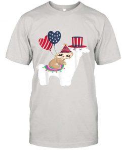 Sloth Riding Llama Funny Sloth 4th Of July Us Heart Classic T-Shirt