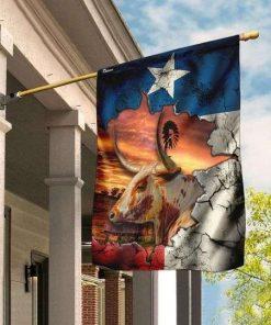 Texas Longhorn Flag Garden Flag