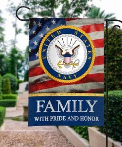 US Navy Family With Pride And Honor Army Veteran American Garden Flag