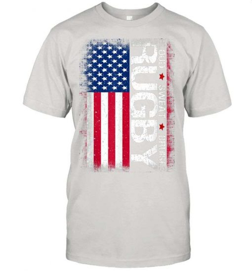 4th Of July Gift Usa Rugby American Flag Distressed Rugby T-Shirt