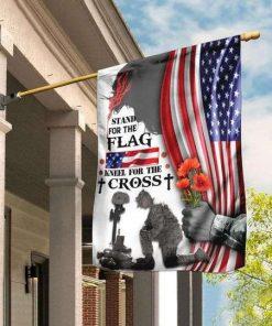 Veteran Stand For The Flag Kneel For The Cross Garden Flag