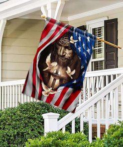 Veteran US American Faith Jesus Flag