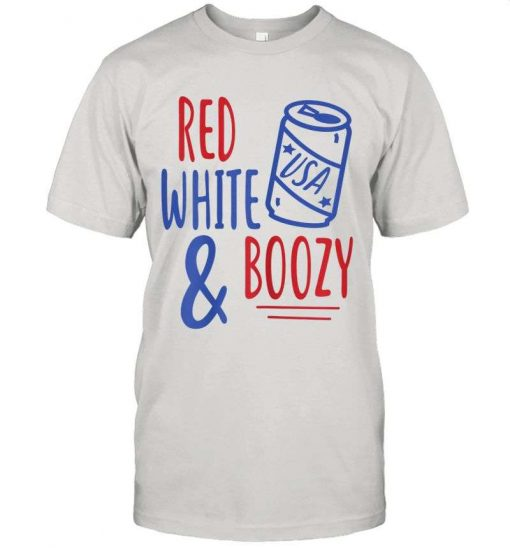 4th Of July Party Gift Womens Red White Boozy Funny Beer Booze T-Shirt