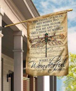 Wonderful World Dragonfly Flag Garden Flag Double Sided House Flag