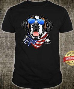 American Saint Bernard USA Flag 4th of July Shirt