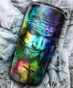 Jesus Faith Over Fear Colorful Tumbler