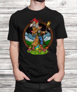 Psychedelic Magic Mushrooms Hippie Shaman Forest Fungi T-Shirt