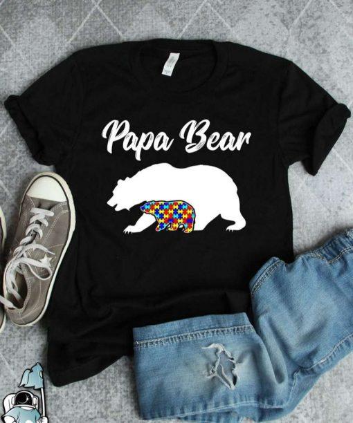 Autism Dad Papa Bear Autism T-Shirt