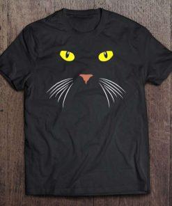 Black Cat Face Whiskers Halloween Costume Unisex T-Shirt