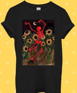 Dancing Skeleton In Sunflowers T-Shirt