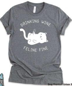 Drinking Wine Feline Fine T-Shirt