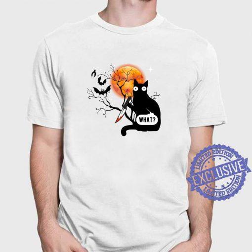 Funny Cat What Assassin Murderous Cat & Knife Halloween T-Shirt