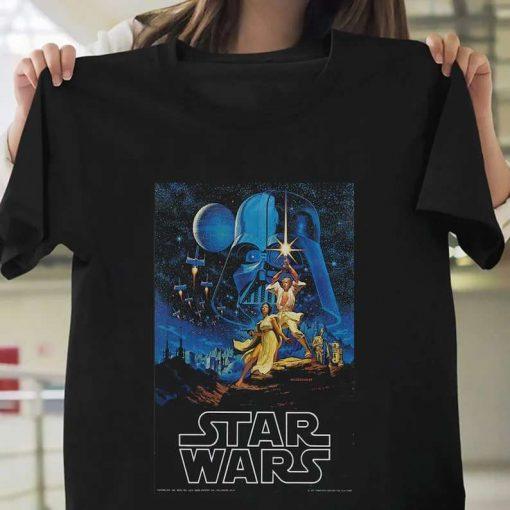 1977 Star Wars Movie Poster New Cotton Unisex T-Shirt
