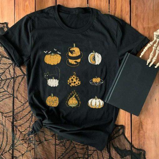 9 Pumpkins Halloween Spooky Fall Vintage T-Shirt