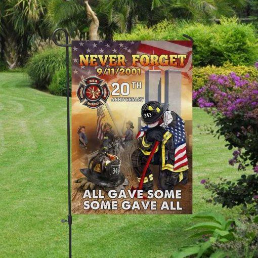 Firefighter 20th Anniversary September 11 2001 Never Forget American Flag