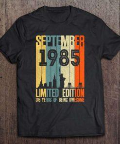 September 1985 36 Birthday 36 Years Old 1985 Birthday Vintage T-Shirt