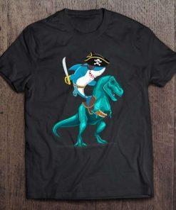 Shark Pirate Riding Rex Kid Boy Gift T-Shirt