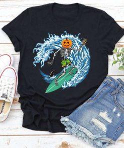Skeleton Surfing Skeleton Pumpkin T-Shirt