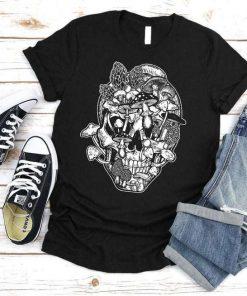 Skull Morel Mushrooms Halloween Skeleton T-Shirt