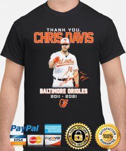 Thank You Chris Davis Baltimore Orioles 2011 2021 Signature T-Shirt