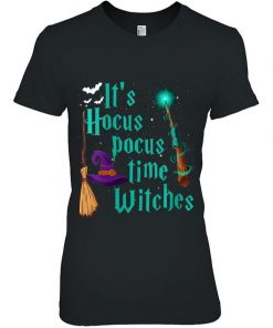 Womens It's Hocus Pocus Time Witches Wand Funny Halloween Costume T-Shirt