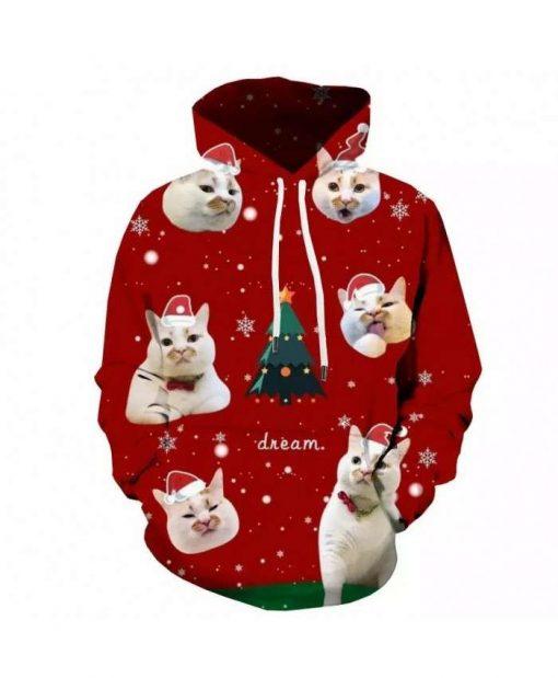 Cat Hooded Casual Animal 3d Printed Christmas Tree 3D Hoodie
