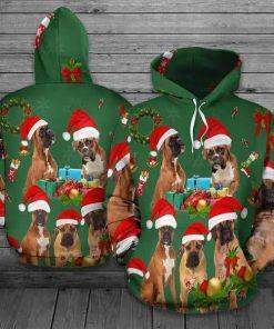 Christmas Boxer Green Cute Unisex 3D Hoodie