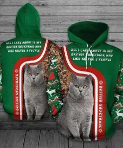 Christmas British Shorthair Cat Green Unisex 3D Hoodie