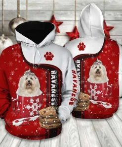 Christmas Havanese Red And White Amazing Unisex 3D Hoodie