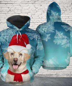 Christmas Labrador Retriever Teal Cute Unisex 3D Hoodie