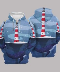 Christmas Lighthouse And Whale Blue Amazing Unisex 3D Hoodie