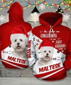 Christmas Maltese Red And White Amazing Unisex 3D Hoodie