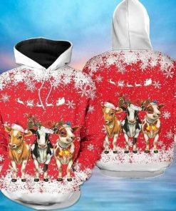 Cows Christmas Red Cute Unisex 3D Hoodie