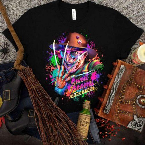 Freddy Krueger Rainbow Bright Horror Sweet Dreams T-Shirt