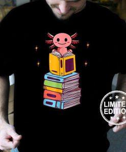 Funny Axolotl Cute Bookworm Girls Boys Book Reading Axolotl T-Shirt