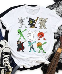 Halloween Dabbing Skeleton Witch And Monsters T-Shirt