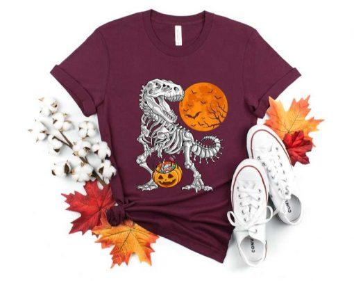 Halloween  for Boys Kids Dinosaur Skeleton T rex Scary T-Shirt