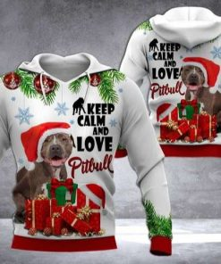 Pitbull Christmas Gray Red Unique 3D Hoodie